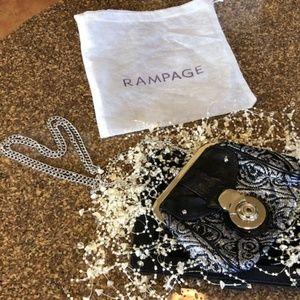 Rampage Black, Silver & Gold Clutch w/Dustbag